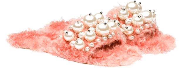 Miu Miu faux fur slippers pink