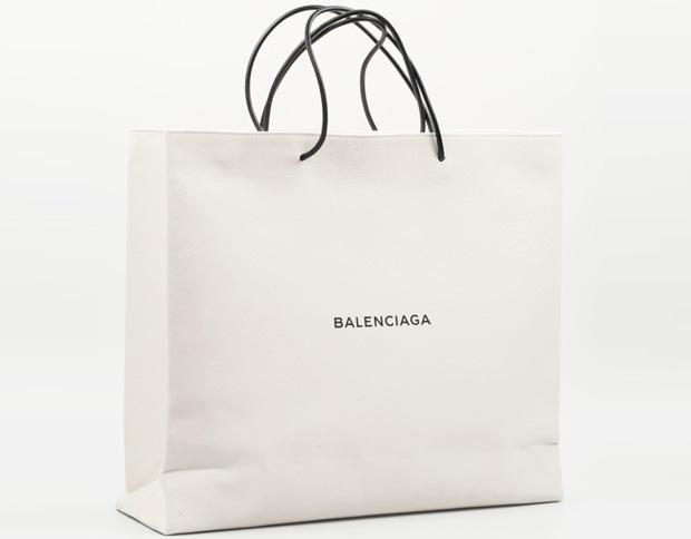 Balenciaga leather shopping bag bag white large