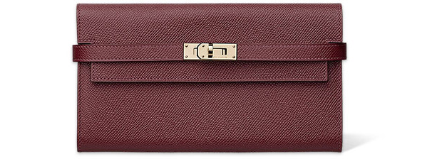 Hermès Kelly long wallet Epsom Bordeaux