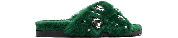 Zara fluffy sandalen groen