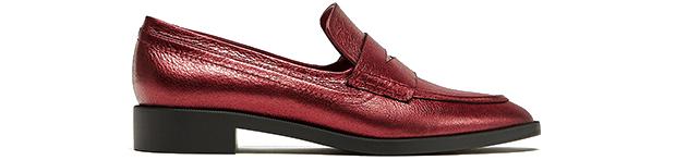 Zara metallic loafers rood metallic