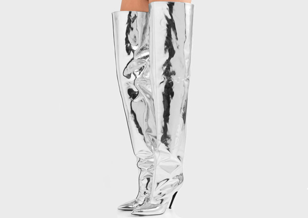 Balenciaga mirrored thigh high boots