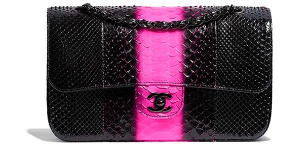 776f5cf82662 Flap met pailletten 3465 euro Chanel fall winter 17/18 flap bag python  black pink