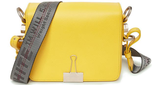 Off-White binder clip tas yellow