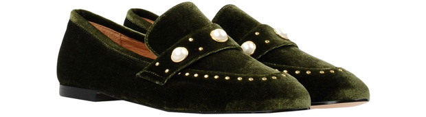 8 velvet loafers green pearls