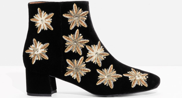 & Other Stories sequin velvet boots