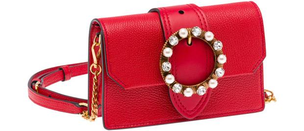Miu Miu belt bag red pearls strass