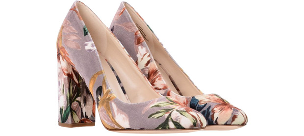 Nine West velvet pumps flowers