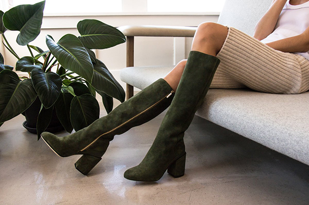 Dear Frances Elle Knee high boots olive