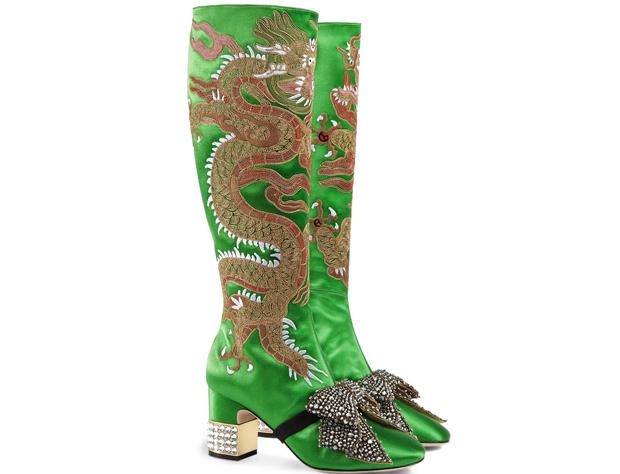 Gucci dragon satin mid heel boots