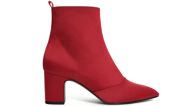 Uterqüe red satin boots