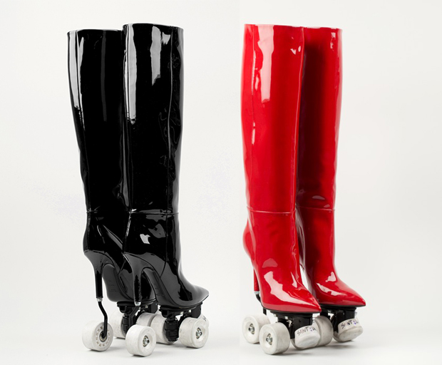 Saint Laurent knee high rollerskates