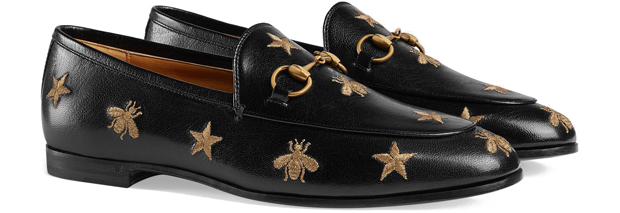 Gucci Jordaan loafers black gold embroidery