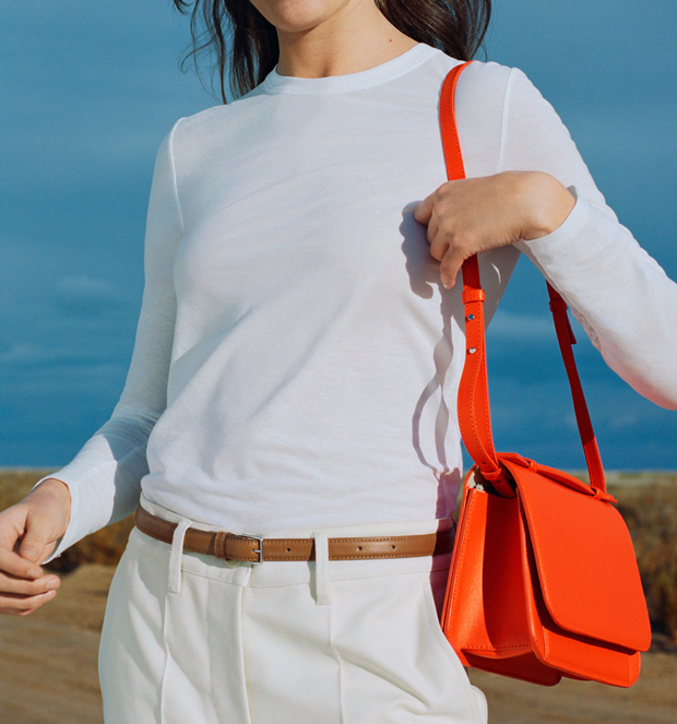 arket leather crossbody orange