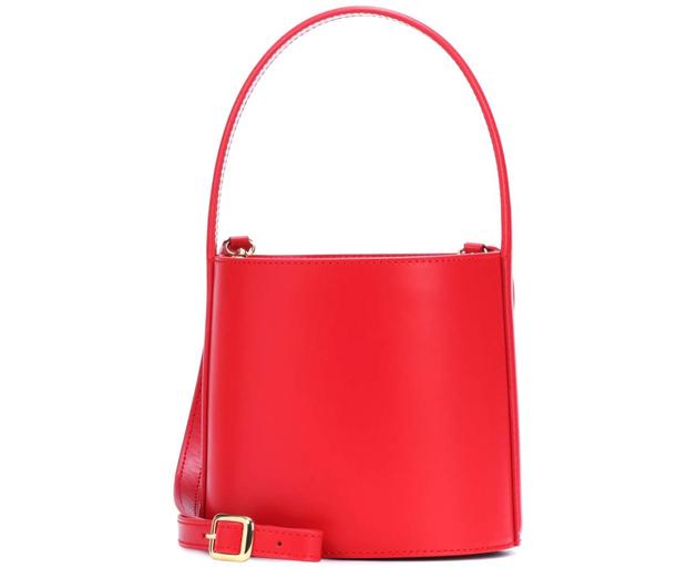 Staud Bisset bucket bag red