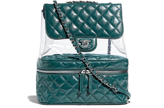Chanel spring summer 2018 backpack pvc caviar green
