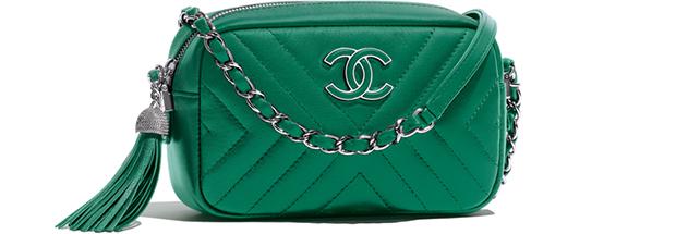 Chanel spring summer 2018 camera case chevron green