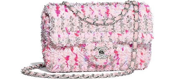 Chanel spring summer 2018 classic flap medium tweed pink