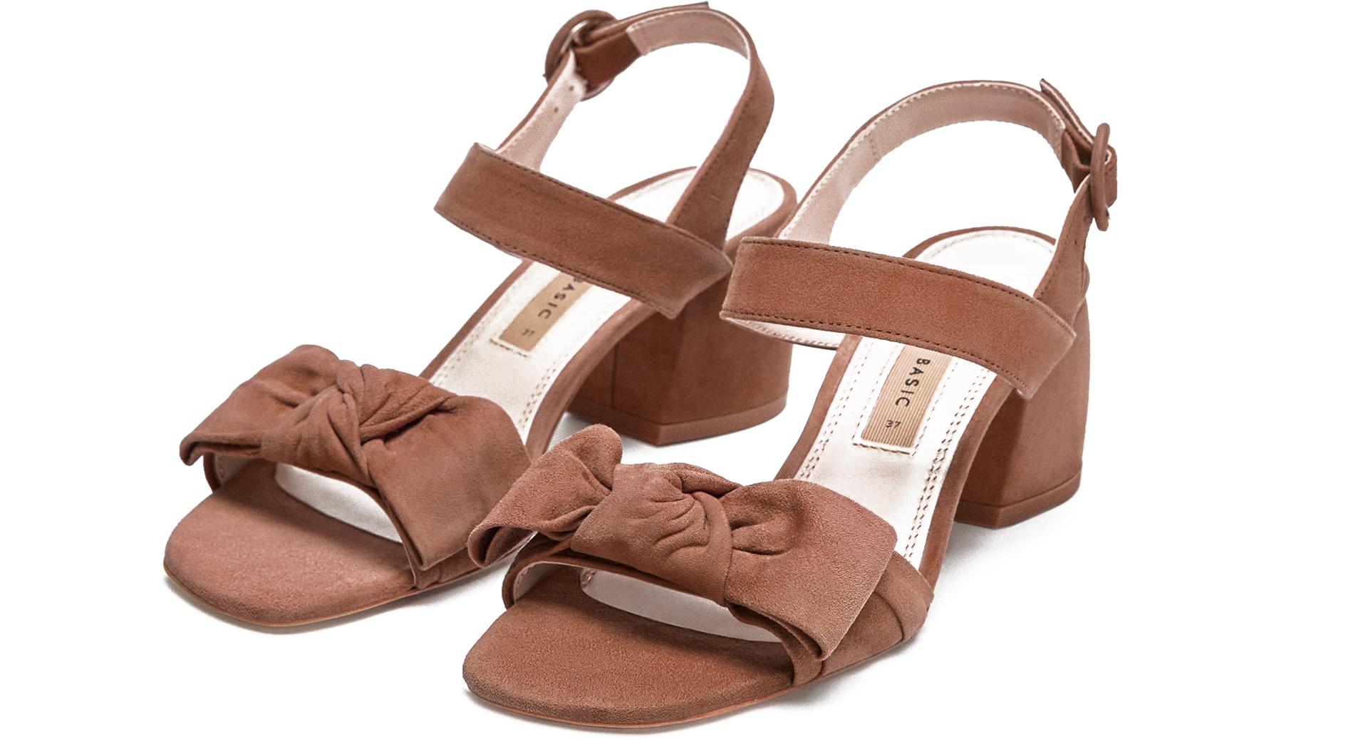 zara sandalen blokhak beige