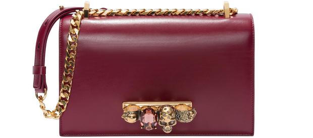 Alexander McQueen bejewelled satchel bordeaux