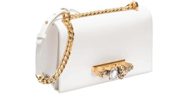 Alexander McQueen bejewelled satchel white