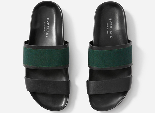 Everlane two strap sandals black green