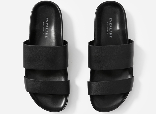 Everlane two strap sandals black