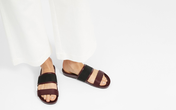 Everlane two strap sandals bordeaux