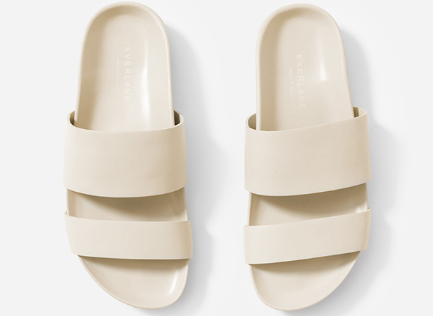 Everlane two strap sandals pale cream