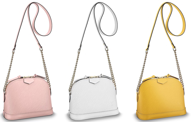 Louis Vuitton Alma Mini Epi Rose Ballerine, Blanc Citron