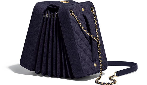 Chanel Paris Hamburg accordion handbag navy