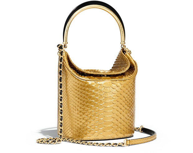 Chanel Paris Hamburg bucket bag gold python