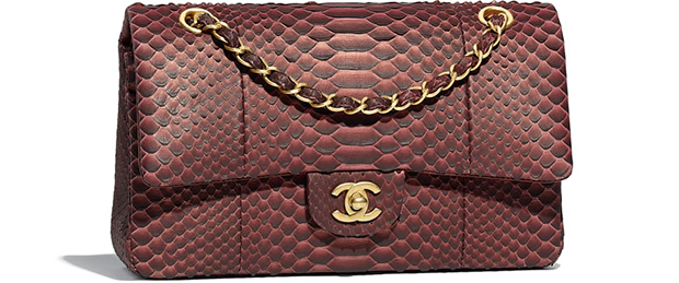 Chanel pre autumn winter 18 classic flap bag Burgundy black python