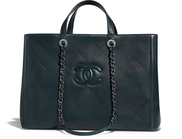 Chanel pre autumn winter 18 large shopping bag navy blue