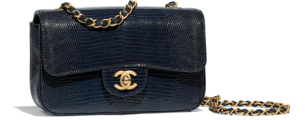 Chanel pre autumn winter 18 classic flap bag blue crackled lizard