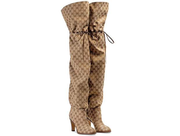Gucci over the knee boot GG canvas