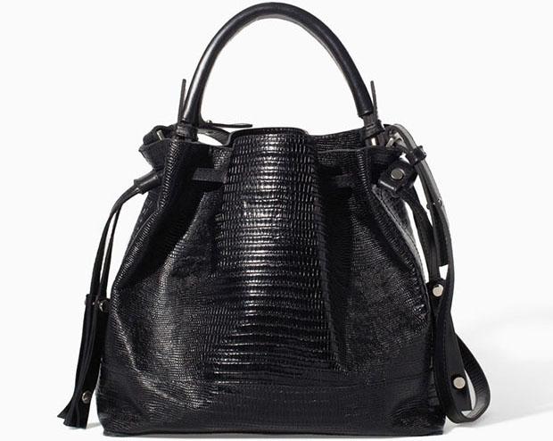 b9303646968 Zara sale zwarte buideltas met lizard print