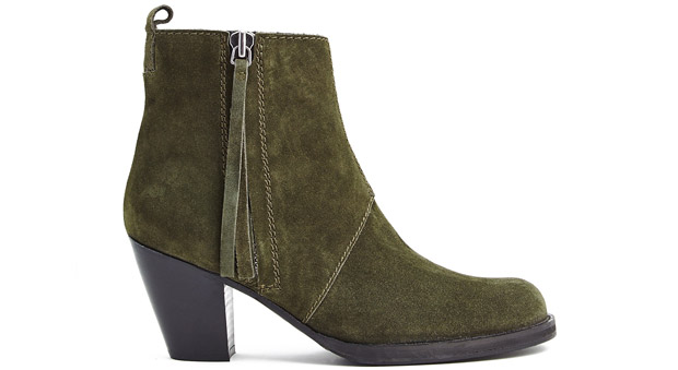 Acne Pistol boots green suede