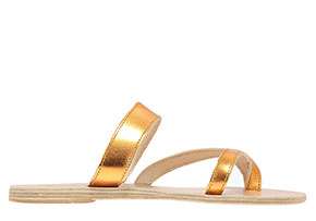 Ancient Greek Sandals metallic gold Dapnae