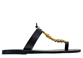 Ancient Greek Sandals black Iris