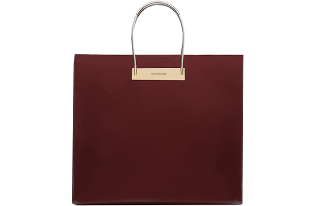 Balenciaga Cable shopper medium patent bordeaux