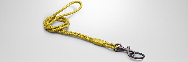 Bottega Veneta Intrecciato chartreuse key ring