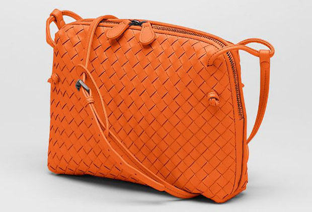 Bottega Veneta intrecciato orange cross body