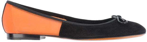 Céline black suede orange flats