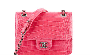 Chanel tassen fall 2014 pink alligator mini flap
