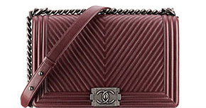 Chanel pre-fall tassen Boy red herringbone