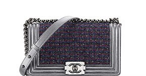 Chanel pre-fall tassen Boy silver tweed