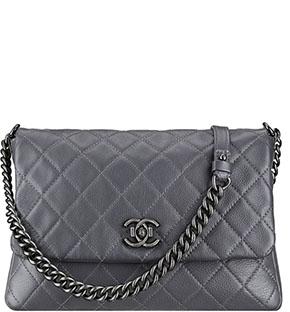 Chanel calfskin grey messenger