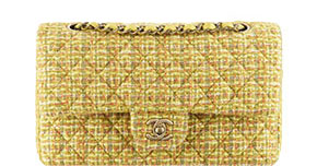 Chanel pre-fall tassen classic flap yellow tweed