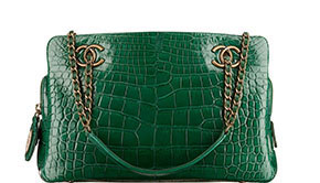 Chanel Paris Salzburg small shopping bag green croc